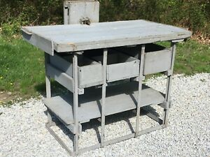 Antique 1900s Primitive Farm Workbench Kitchen Island Vtg Table Desk Industrial