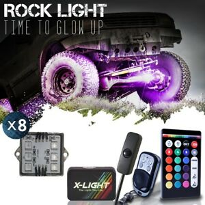 X light 8pc Led Off Road Rock Lights Rgbw 18 color White Underbody Crawl switch