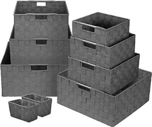 Sorbus Double Woven Box Bin 9 Piece Set For Storage Includes Built in Handles