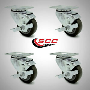 Service Caster 3 Poly Wheel 4 Stainless Swivel Casters W brakes