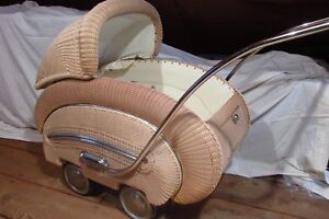 Antique Wicker Baby Carriage From 1950s Not A Toy Original Parts