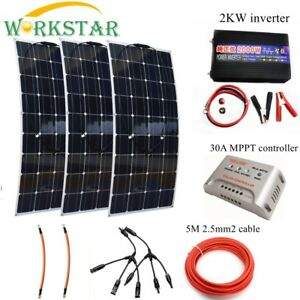 300w Solar System For Beginner Flexible Solar Panel Modules With 2000w Inverter