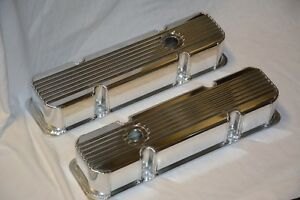 Fabricated Polished Aluminum Finned Small Bock Chevy Valve Covers Sbc 283 350