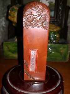 Chinese Shoushan Stone Carving D Lions Beast Seal Stamp Signet