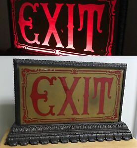 Beautiful Antique Cast Metal Base Gold Paint Red Glass Lighted Theater Exit Sign