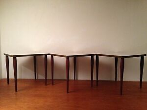 Set Three Vintage Mid Century Modern Retro Stacking Side Tables