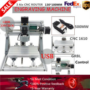 Us Engraving Machine Mini Mill Diy Cnc 1610 Router Set Usb 500mw Laser Pcb Light