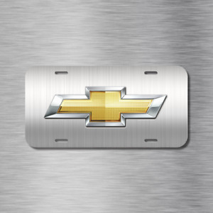 Chevy Chevrolet Brushed Vehicle License Plate Front Auto Tag New Silverado Bolt