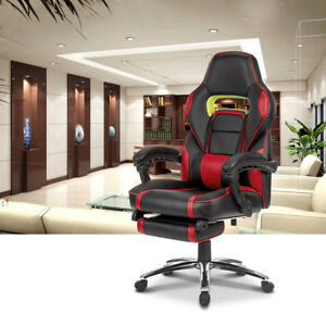 Executive High Back Leather Swivel Office Computer Chair W Footrest