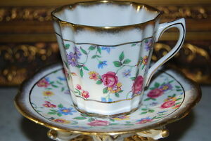 Wonderful Rosina England Flower Decorated Hand Sponged Gold Coffee Cup Saucer 1