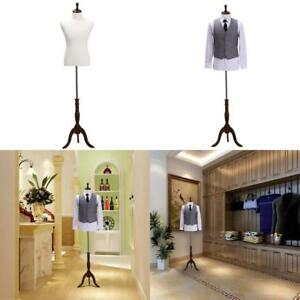 Male Fully Pinnable Mannequin Dress M 39 33 39 On Natural Tripod Stand White