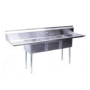 Turbo Air Tsa 3 d1 90 1 2 In Three Compartment Sink W 18 In Drainboards
