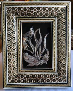 Vtg Persian Miniature Handmade Copper Silver Birds In Khatam Wooden Frame