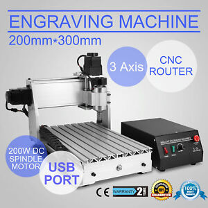 3 Axis 3020t Usb Cnc Router Engraver Cutting Desktop 300x200mm Woodworking