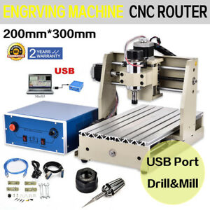 New 3 Axis Usb Cnc Router Engraver Kit 300w Carving Engraving Milling Machine De