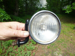 Antique Vintage Cowl Light Glass Lens 4 1 8 With Chrome Bezel Restored