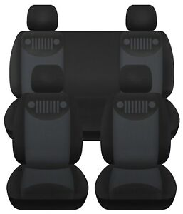 2007 2018 Jeep Wrangler Jk Custom Car Seat Covers Front Rear Black And Charco