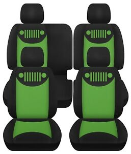 2007 2018 Jeep Wrangler Jk Custom Car Seat Covers Front Rear Black Lime Green