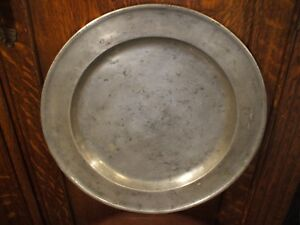 London Richard King 18th Century English Pewter Charger 15 W Makers Hallmarks