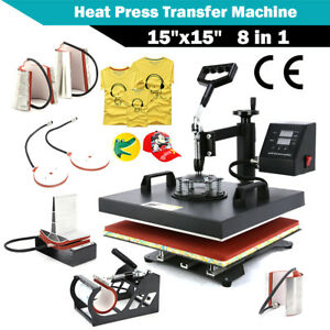 8 In 1 Heat Press Machine For T shirts 15 x15 Combo Kit Sublimation Swing Away1