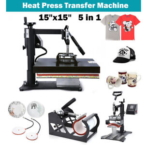 15 x15 5 In 1 Combo T shirt Heat Press Transfer Machine Sublimation Swing Away