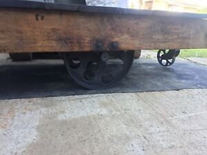Antique Industrial Factory Cart Coffee Table