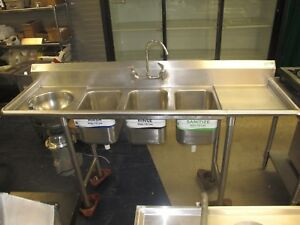 Advance 3 Compartment Sink W Left Side Garbage Disposal