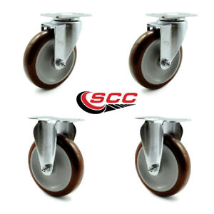 Service Caster 5 Maroon Polyurethane Wheel 2 Swivel And 2 Rigid Casters