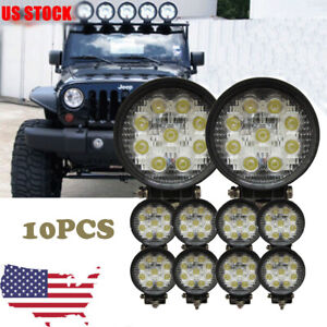 10x 4in Round Pod Flood Led Driving Fog Lights Off Road Work Light Jeep Wrangle