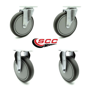 Scc 6 X 1 25 Thermoplastic Rubber Wheels Caster Set 4 2 Swivel 2 Rigid