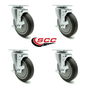 Scc 5 X 1 25 Thermoplastic Rubber Wheel Swivel Casters W brakes Set Of 4