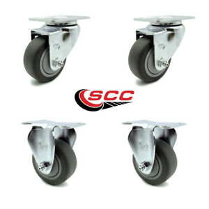 Service Caster 3 5 Gray Tpr Wheel 2 Swivel And 2 Rigid Casters Set Of 4