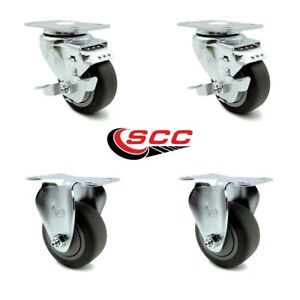 Service Caster 3 Gray Tpr Wheel 2 Rigid And 2 Swivel Casters W brakes