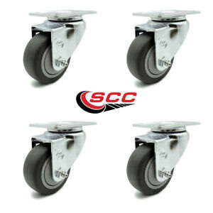 Scc 3 X 1 25 Thermoplastic Rubber Wheel Swivel Casters Set Of 4