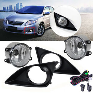 For Toyota Corolla 2009 2010 Clear Lens Fog Lights Lamps Grille Cover Harness