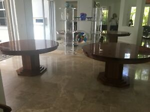 Set Of 2 Round Wooden Art Deco Dining Room Tables