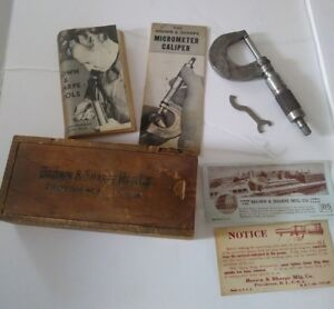 Vintage Brown Sharpe Micrometer Caliper 0 1 With Wrench And Extras