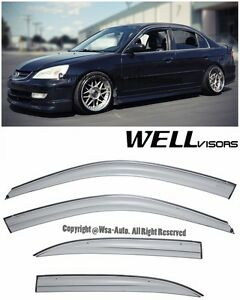 Wellvisors Aerodyn Series Side Window Visors Deflector For 01 05 Honda Civic 4dr