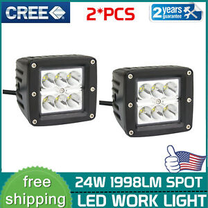 2x 3inch 24w Spot Led Work Lights Square Driving Pods Off Road Atv Ute 3x3 Truck