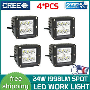 4x 3inch 24w Spot Led Work Lights Square Driving Ford Pods Offroad Ute Fog Lamp