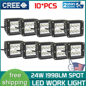 10x 3inch 24w Square Led Spot Cube Work Light Pods Truck Offroad Suv Dirving Ute