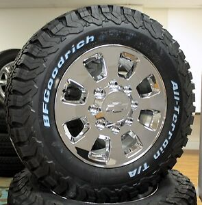 18 Chrome 8 Lug Wheels For 2011 2019 Chevy Silverado Hd 2500 3500 Bfg Tires