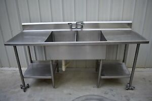 2 Compartment Sink With Under Shelves Stainless Steel 84