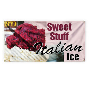 Sweet Stuff Italian Ice Advertising Printing Vinyl Banner Sign With Grommets