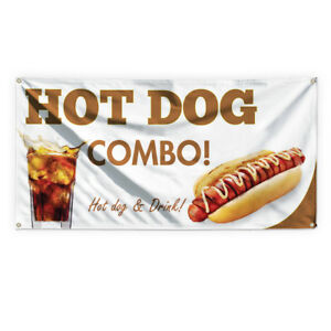 Hot Dog Combo Hot Dog Drink 1 Vinyl Banner Sign With Grommets
