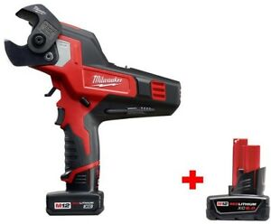 Milwaukee Cable Cutter Kit 12 volt Lithium ion Cordless Brushed Motor Battery