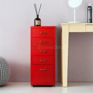 Metal Detachable 5 Drawer Mobile Steel File Cabinet Filing Cabinet Red G3z2