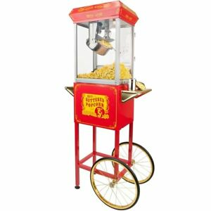 Funtime Sideshow Popper 8 ounce Hot Oil Popcorn Machine With Cart Red gold