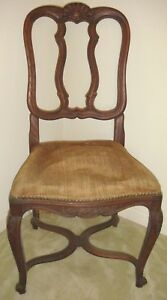Vintage Antique Country French Oak Carved Side Chair Shell Scroll
