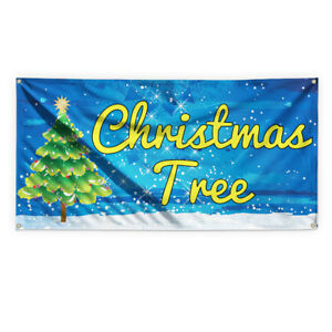 Christmas Tree 1 Advertising Printing Vinyl Banner Sign With Grommets